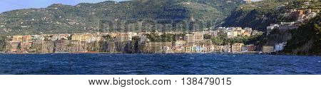 SORRENTO ITALY - JUNE 26: Coast panorama in Sorrento on JUNE 26 2014. Sorrentine Peninsula Panoramic Landscape at Tyrrhenian Sea Shore in Sorrento Italy.
