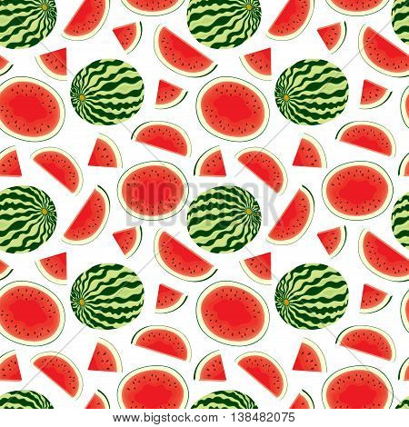 Vector seamless pattern of fresh watermelon slices and whole watermelon in colour on white background.