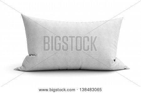 Clasic White Rectangular Pillow 3D Illustration On White Background