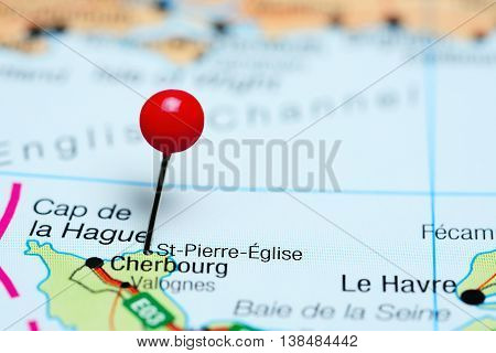 St-Pierre-Eglise pinned on a map of France
