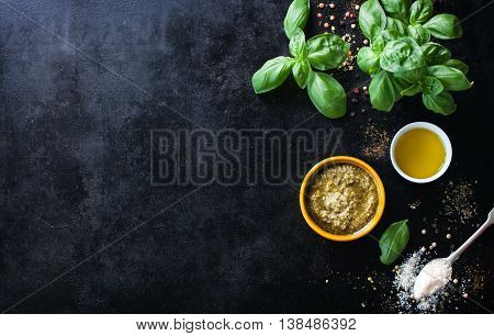 Food frame italian food background healthy food concept or ingredients for cooking pesto sauce on a vintage background top view with copy space