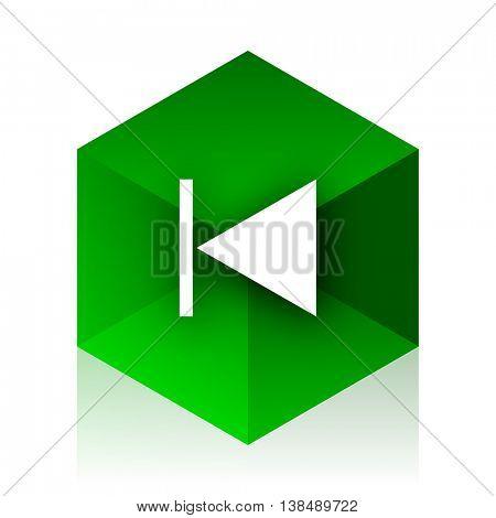 prev cube icon, green modern design web element