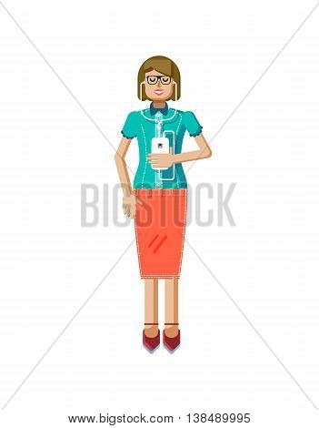 Stock vector illustration isolated of European light brown hair woman, in glasses, woman with skirt, blouse, smartphone in hand, woman listen music from phone, flat style on white background