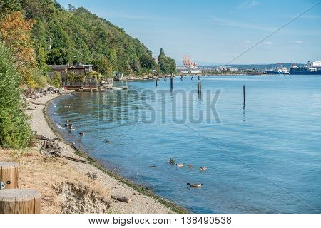 A view of the shoreline near the Port of Tacoma.