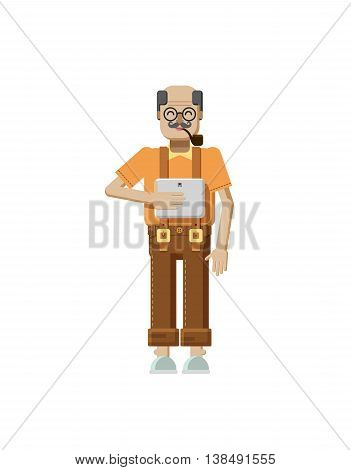 Stock vector illustration isolated of European elderly retiree, gray hair, mustache, in glasses, pipe in mouth, trousers with braces, old man with laptop in hand in flat style on white background
