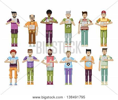 Stock vector illustration isolated set of men with laptop in hands, men looking into screen of eBook, mens sportswear comfortable clothes in flat style on white background