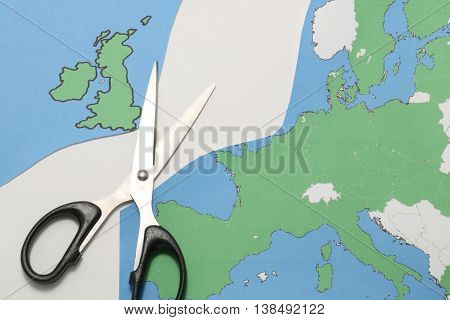 United Kingdom leaves European Union. Scissors cut the United Kingdom from EU. Brexit UK EU referendum concept.