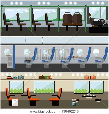 Public transport concept vector banners set. Bus, train and airplane. Transport interior.