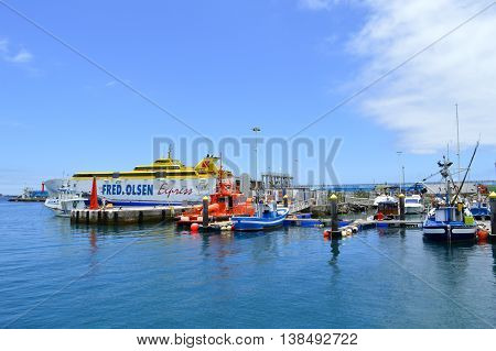 Los Cristianos marina Tenerife Canary Islands Spain Europe - June 15 2016: Fred Olsen ferry in Los Crristianos marina Tenerife