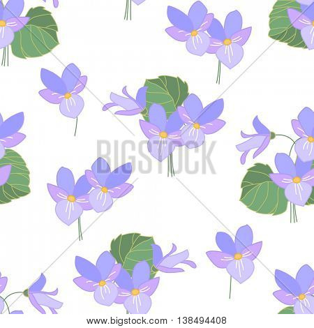 Floral seamless pattern made of wild forest violas. Endless texture for romantic  design, decoration,  greeting cards, posters,  invitations, advertisement.