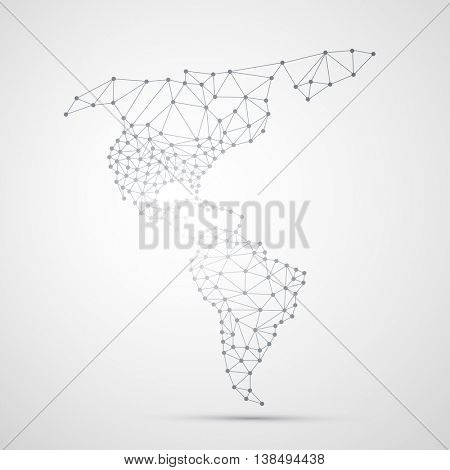 Transparent Abstract Polygonal Map of North and South America, Digital Network Connections, Technology Background, Creative Design Template
