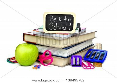 Back To School Chalkboard Tag With Book And School Supplies Over A White Background