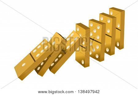 Falling dominoes gold. Gold Icon game of dominoes. Board game Domino. Domino icon vector for web. Push domino.