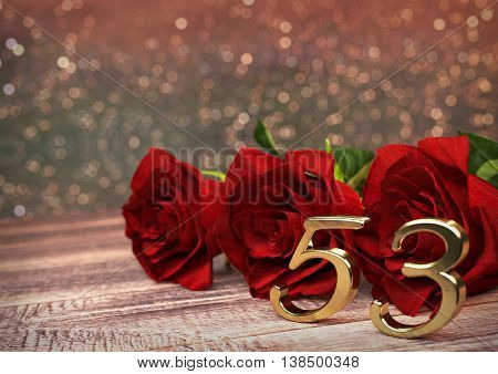 birthday concept with red roses on wooden desk. 3D render - fifty-third birthday. 53rd