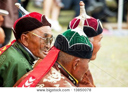 MOON SUM, MONGOLIA - JULY 25: arbiters of traditional mongolian fighting festival on July 25, 2010 in Moon Sum, Mongolia. Annual holiday in honor of town birthday.
