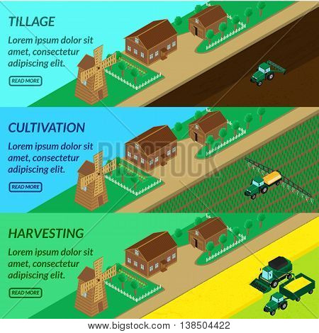 vector illustration. Web banner agriculture field cultivation - tractor plow irrigate insecticide planting combine harvesting. House mill barn. Isometric 3D