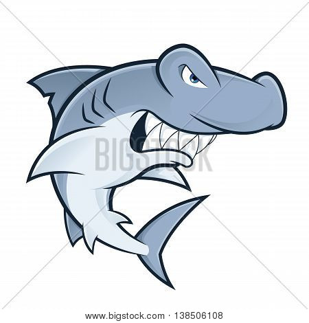 Clipart picture of a hammerhead shark cartoon mascot character poster