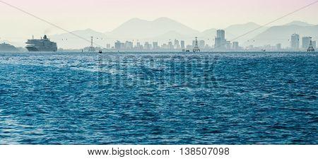 Vietnam.  Big cruise ship in the port