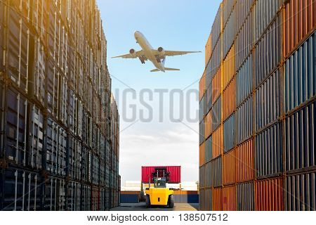 Container terminal under blue sky motion blur fork lift Warehouse & shipping concept