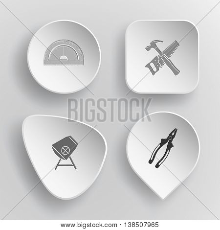 4 images: protractor, hand saw and hammer, concrete mixer, pliers. Industrial tools set. White concave buttons on gray background. Vector icons.