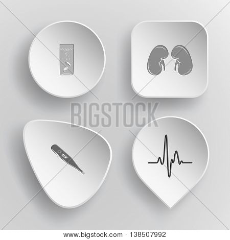4 images: glass with tablets, kidneys, thermometer, cardiogram. Medical set. White concave buttons on gray background. Vector icons.