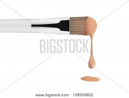 Foundation cream brown color drop from brush makeup into the floor.