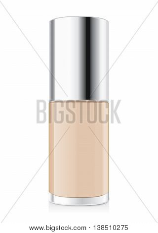 Foundation cream nude color in glass bottle have a silver cap. Illustration about cosmetic or beauty product mock up.