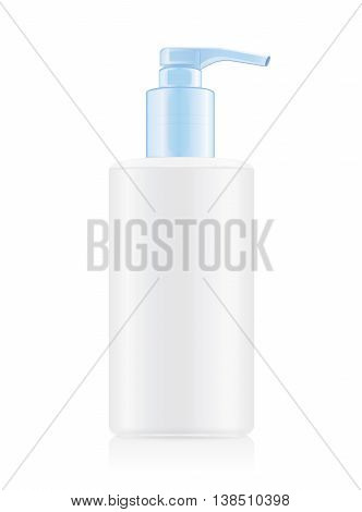 White opaque bottles with blue airless pump. Ideal for beauty product mock up and hygiene or other.