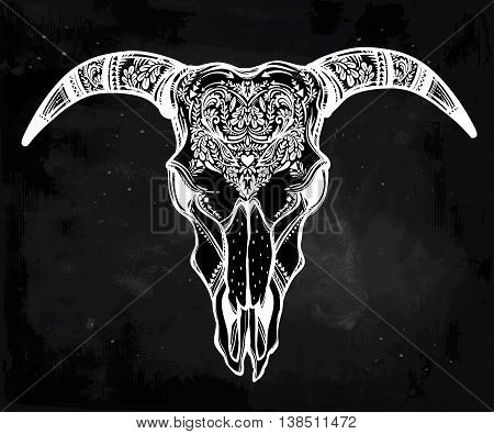 Hand drawn romantic tattoo style ornate decorative demon like goat skull. Spiritual native indian navajo art. Vector illustration isolated. Ethnic design, mystic tribal boho symbol for your use.
