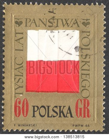 MOSCOW RUSSIA - CIRCA JANUARY 2016: a post stamp printed in POLAND shows the Polish flag the series