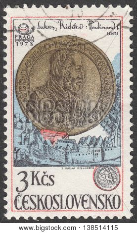 MOSCOW RUSSIA - CIRCA FEBRUARY 2016: post stamp printed in CZECHOSLOVAKIA shows a coin with image of Ferdinand I Holy Roman Emperor the series