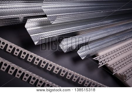 Profile for plasterboard, plasterboard fastening, set of building profiles, building materials, steel profiles for repair, construction works, modern building materials, plastic profile