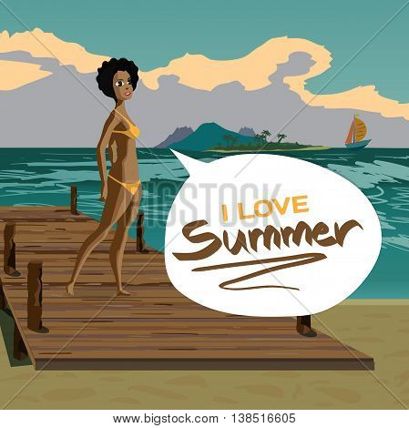 Sea landscape summer beach old wooden pier afro black woman dressed in yellow swimsuit. Girl in bikini is standing on coast in summer vacation. Vector flat cartoon illustration.