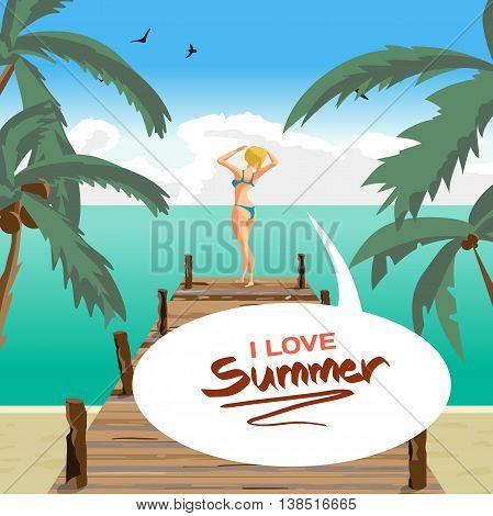 Sea landscape summer beach old wooden pier. Blonde woman dressed in green swimsuit is standing sunbathe on the sun raising his hands. Vector cartoon flat illustration