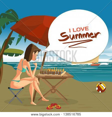 Young woman in a bikini playing chess with herself sitting on the beach under an umbrella. Vector flat cartoon illustration. Sea landscape summer with cruise liner