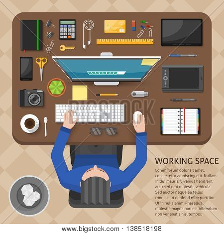 Working space top view design with sitting man brown table computer gadgets beige tiled floor vector illustration