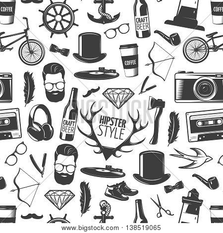 Hipster black seamless background pattern with isolated heads of man style and recognizable accessories vector illustration
