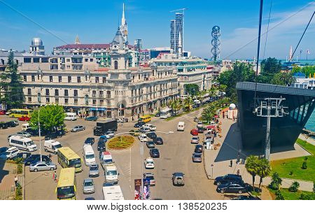BATUMI GEORGIA - MAY 25 2016: The aerial view of the traffic jam in the city center next to the Argo Cable Car Station on May 25 in Batumi.
