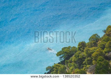 Lefkada coast beach,  Greece. View of turquoise blue sea from a cliff on a beautiful sunny day