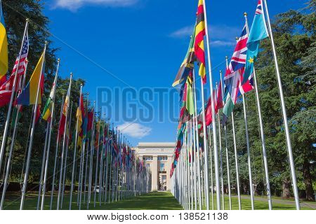 Geneva Switzerland - June 17 2016: Gallery of national flags at UN entrance in Geneva Switzerland