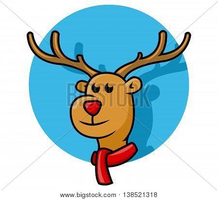 a vector illustration of Rudolph deer head