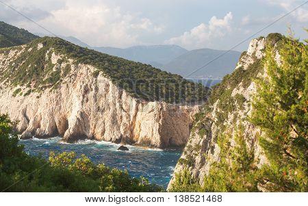 Lefkada island, west coast during sunset. Beautiful cliffs at Dukatos Cape, Lefkada Ionian sea, Greece