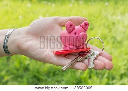 Hand is holding pink piggy and keys as symbol of savings and mortgage poster