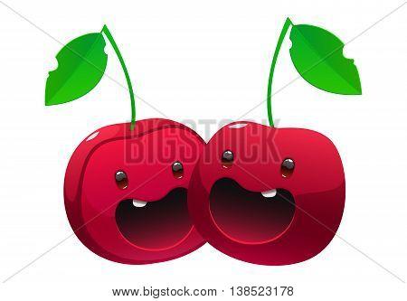 Bright juicy delicious cherry cartoon two happe face
