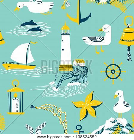Vector seamless pattern with marine issues: boat, seagull, starfish, lighthouse and dolphin