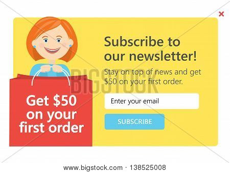 Vector template for email subscribe with cartoon woman. On shopping theme.