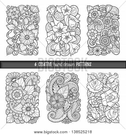 Set of doodle background in vector with doodles, flowers and paisley. Vector ethnic pattern can be used for wallpaper, pattern fills, coloring books and pages for kids and adults. Black and white.