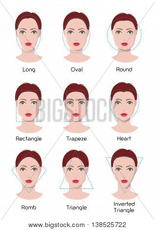 Vector infographics of woman face types, nine different face shapes, flat style illustration