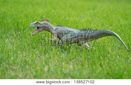 allosaurus toy standing on glass horizontal composition