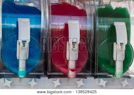Colorful Slush Juice Ice Drink Dispensers, Food Theme